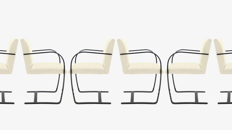 American Brno Flat-Bar Chairs in Snow Velvet, Obsidian Gloss Frame, Set of Ten For Sale