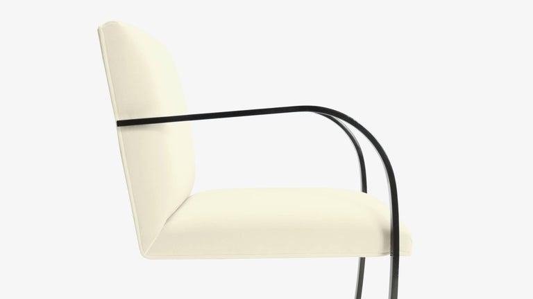 Powder-Coated Brno Flat-Bar Chairs in Snow Velvet, Obsidian Gloss Frame, Set of Ten For Sale