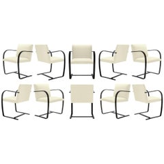 Brno Flat-Bar Chairs in Snow Velvet, Obsidian Gloss Frame, Set of Ten