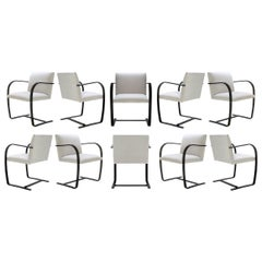 Brno Flat-Bar Chairs in Velvet, Black Gloss by Mies van der Rohe for Knoll, 10