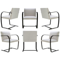 Brno Flat-Bar Chairs in Velvet, Black Gloss by Mies van der Rohe for Knoll, 6