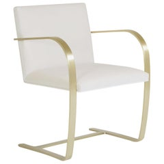 Brno Flat-Bar Chairs in Velvet, Brushed Brass by Mies van der Rohe for Knoll