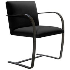 Brno Flat-Bar Chairs in Velvet, Obsidian Gloss by Mies van der Rohe for Knoll