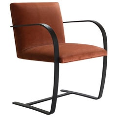 Brno Flat-Bar Chairs in Velvet, Obsidian Matte by Mies van der Rohe for Knoll