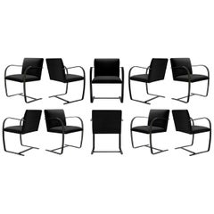 Brno Flat-Bar Chairs Velvet, Obsidian Gloss by Mies van der Rohe for Knoll, 10