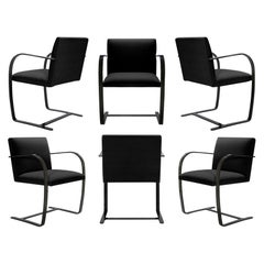 Brno Flat-Bar Chairs Velvet, Obsidian Gloss by Mies Van Der Rohe for Knoll, 6