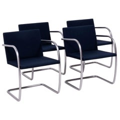 Brno Navy Fabric Dining Chairs by Ludwig Mies van der Rohe for Knoll, Set of 4