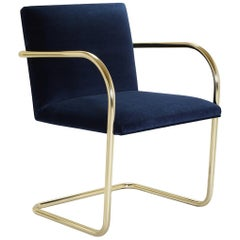 Brno Tubular Chair in Navy Velvet, Polished Brass