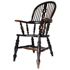 Broad Arm Windsor Chair, English, 19th Century, Alder, Large, Country