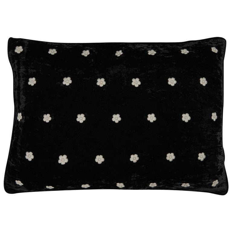 Broad Hand Embroidered Black Velvet Pillow Cover For Sale