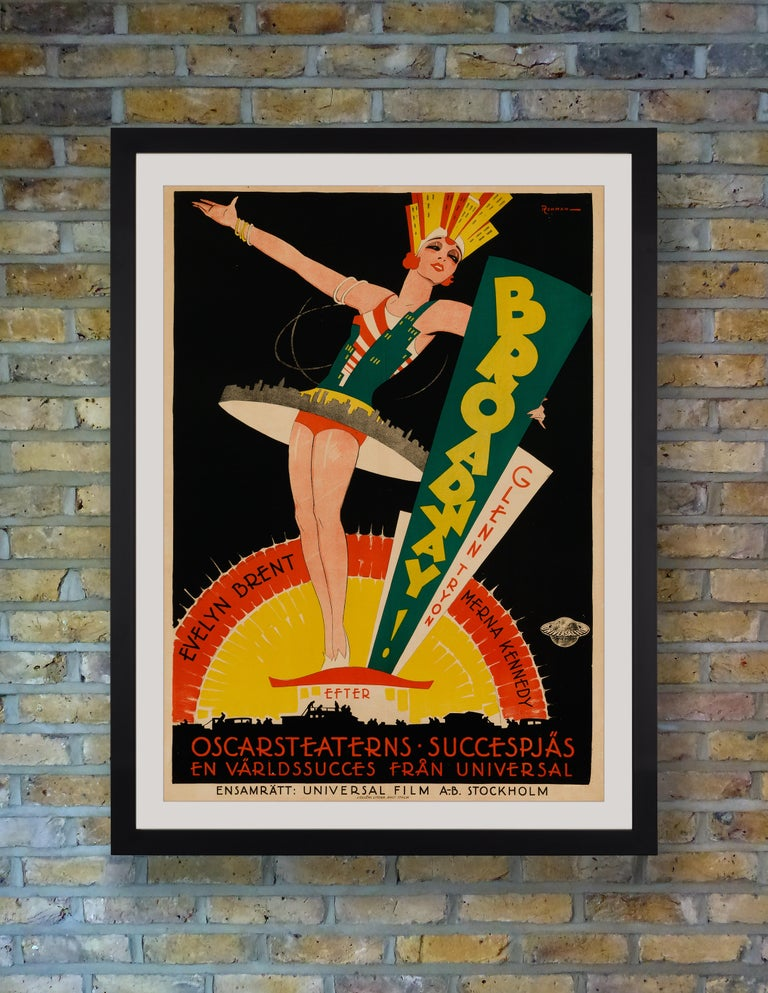 A dazzling Art Deco poster with bold and distinctive artwork by noted Swedish designer Eric Rohman for the Swedish release of Universal's 1929 musical 'Broadway'. Based on the successful Broadway play of the same name and directed by Hungarian