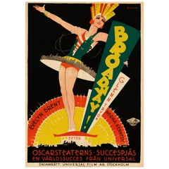'Broadway' Original Vintage Movie Poster by Eric Rohman, Swedish, 1929