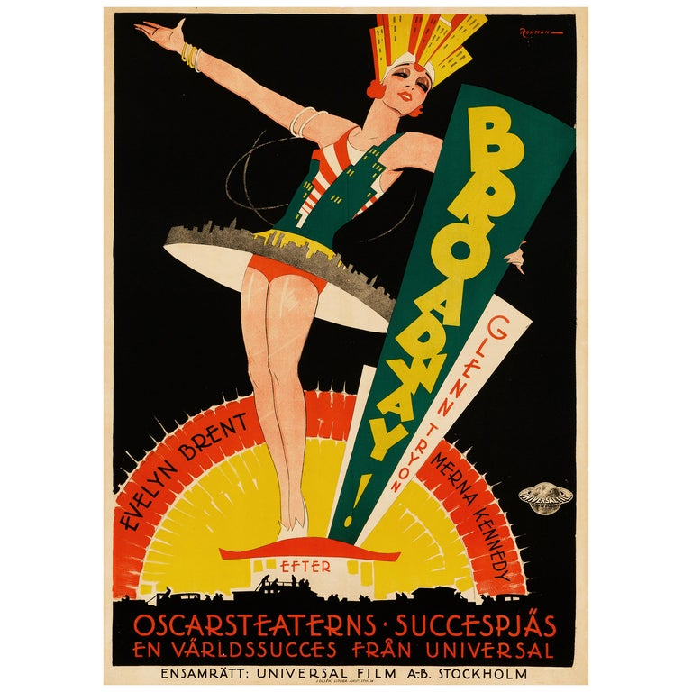 'Broadway' Original Vintage Movie Poster by Eric Rohman, Swedish, 1929 For Sale