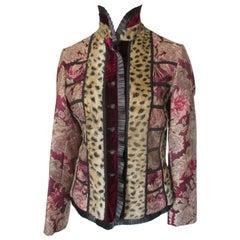 Brocade Jacket with Leopard Faux Fur