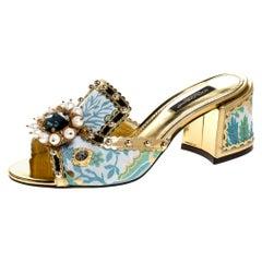 Brocade Patent Leather Trim Crystal Embellished Open Toe Sandals Size 35.5