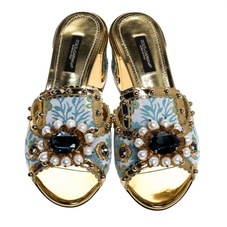 Beige Brocade Patent Leather Trim Crystal Embellished Open Toe Sandals Size 36 For Sale