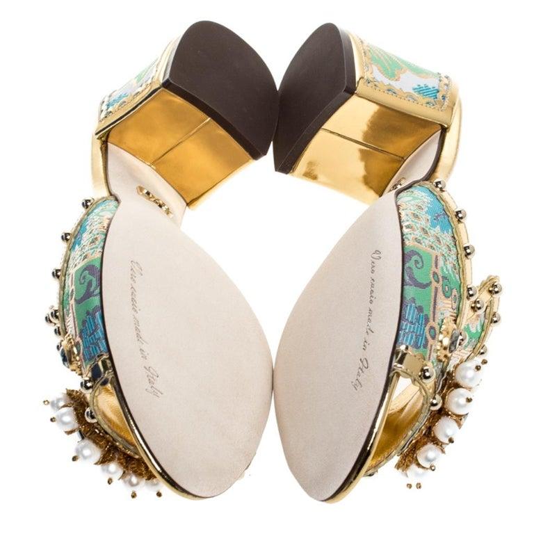 Brocade Patent Leather Trim Crystal Embellished Open Toe Sandals Size 36 For Sale 1