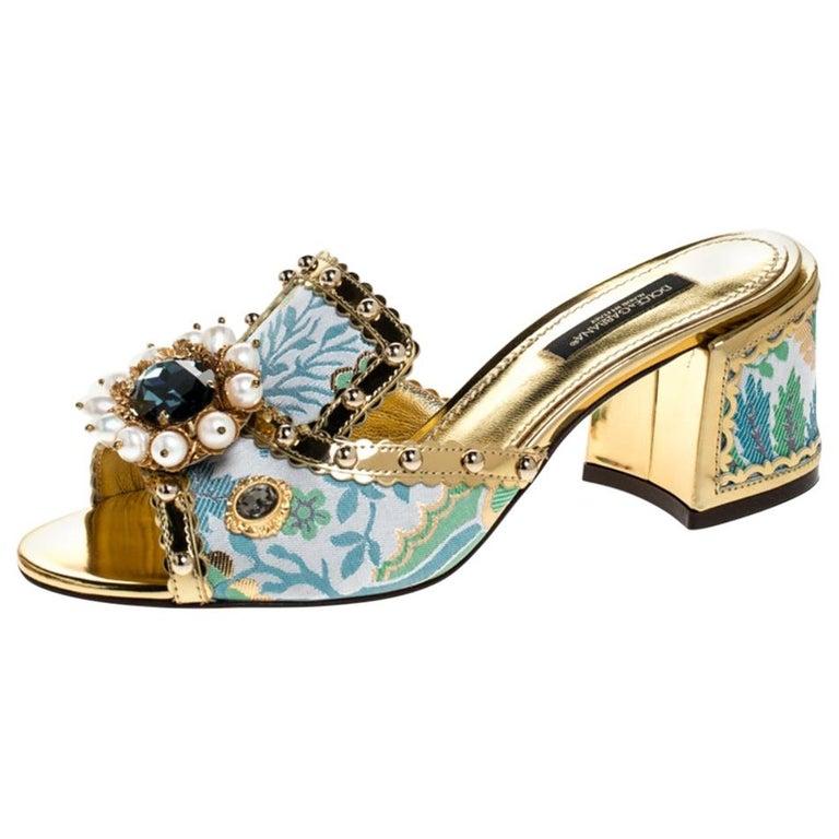 Brocade Patent Leather Trim Crystal Embellished Open Toe Sandals Size 36 For Sale