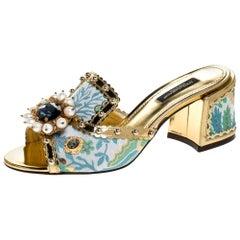 Brocade Patent Leather Trim Crystal Embellished Open Toe Sandals Size 37