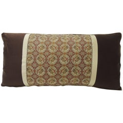 Brocade with Circular Design of Tigers and Japanese Warriors Bolster Long Pillow