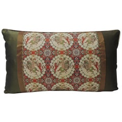 Brocade with Circular Design of Tigers and Japanese Warriors Lumbar Pillow
