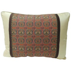 Brocade with Circular Design of Tigers and Phoenixes Bolster Decorative Pillow