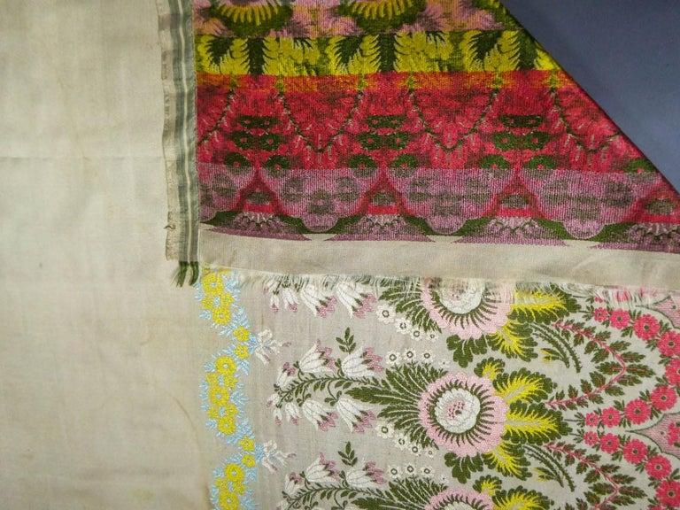 Brocaded Silk Scarf - Spitalfield Manufacture England around 1820 For Sale 9