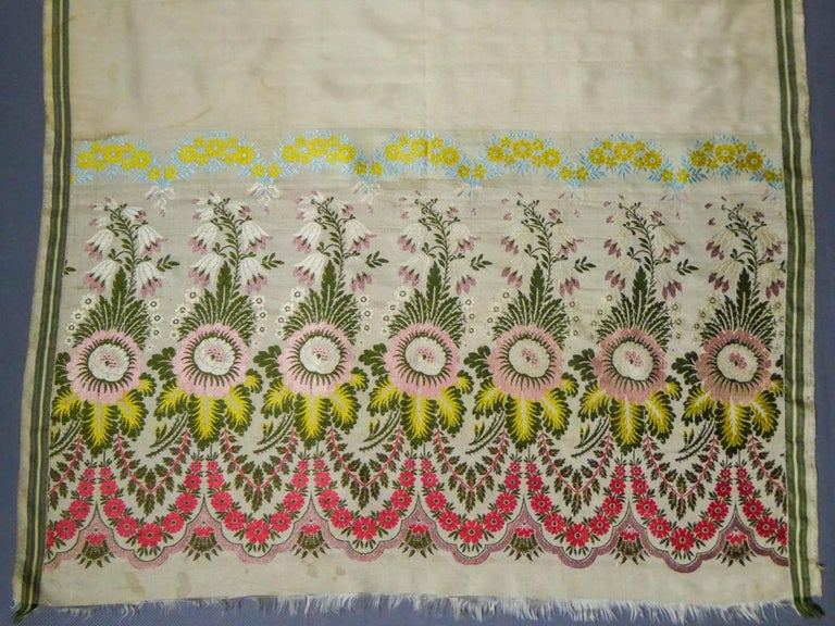 Brocaded Silk Scarf - Spitalfield Manufacture England around 1820 For Sale 2
