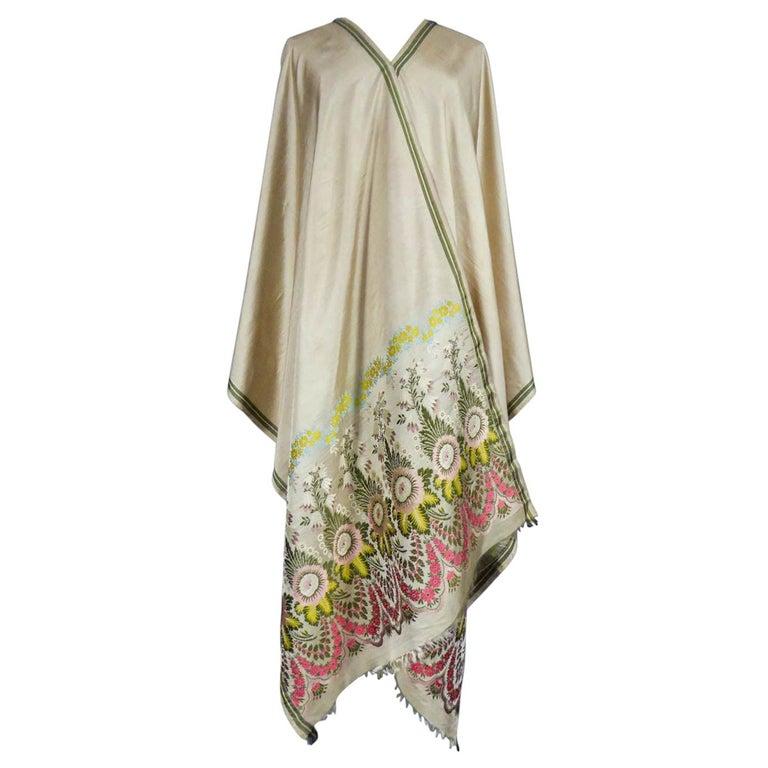 Brocaded Silk Scarf - Spitalfield Manufacture England around 1820 For Sale