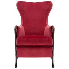 Brodeaux Velvet Upholstered Solid Beechwood Armchair, Giorgetti