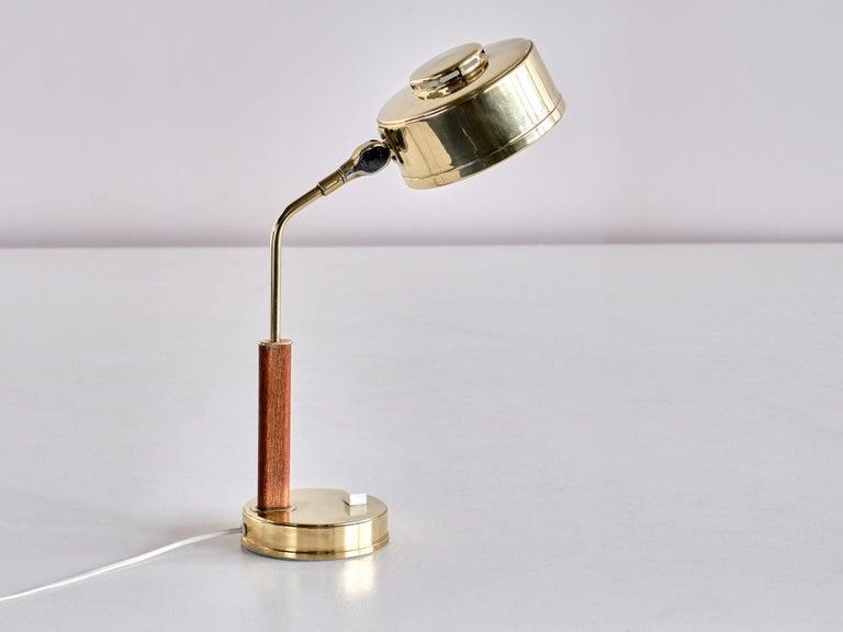 Bröderna Johansson Desk Lamp in Brass and Teak, Skellefteå, Sweden, 1950s For Sale 3