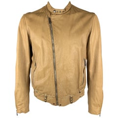 BROGDEN M Tan Distressed Leather Motorcycle Jacket