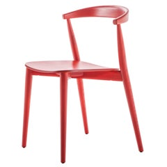 Brogliato Traverso Newood Light Chair in Red Aniline Stained Ash for Cappellini