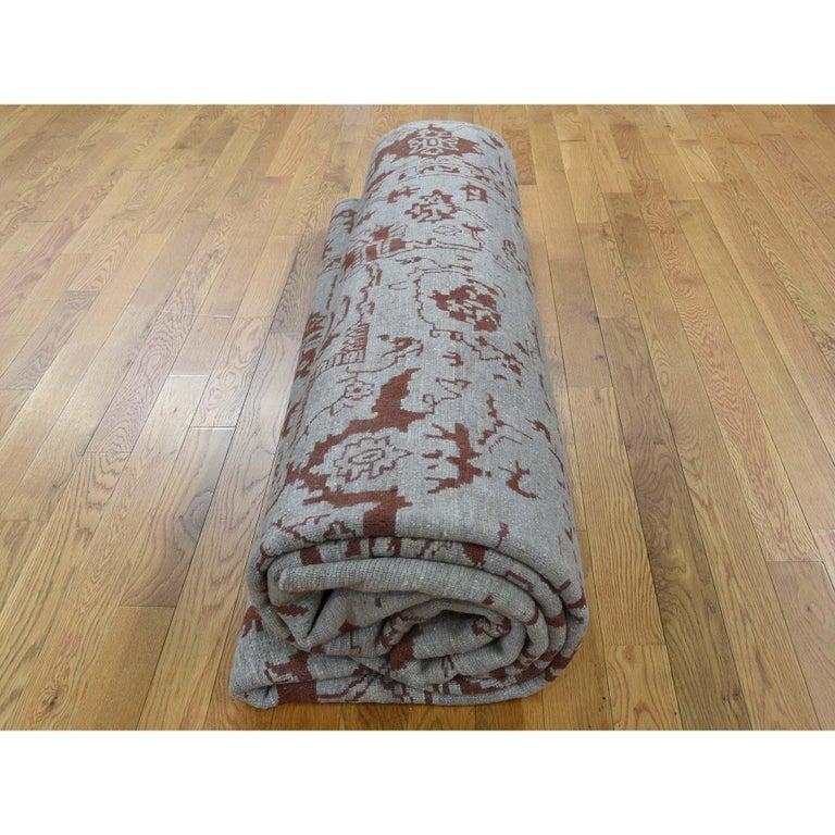 Broken Design Heriz Wool and Silk Oriental Rug Hand Knotted For Sale 3