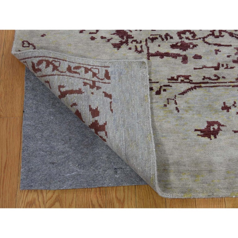 Hand-Knotted Broken Design Heriz Wool and Silk Oriental Rug Hand Knotted For Sale