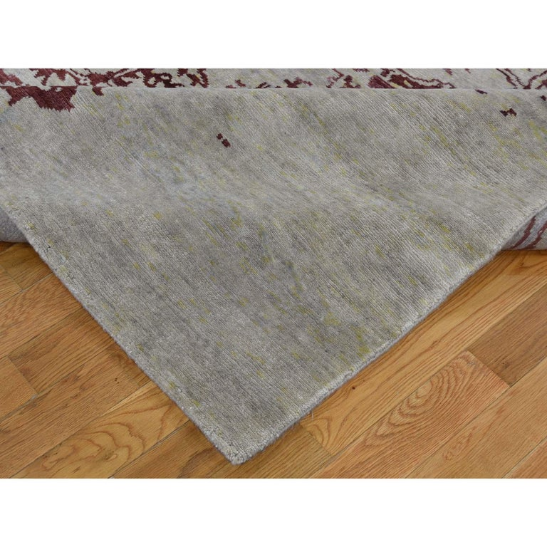 Contemporary Broken Design Heriz Wool and Silk Oriental Rug Hand Knotted For Sale
