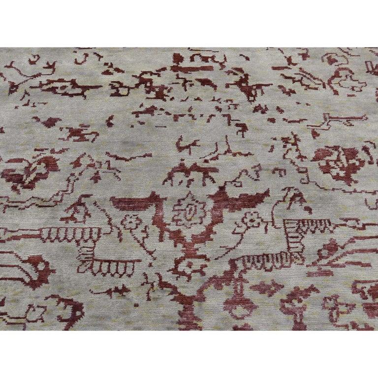 Broken Design Heriz Wool and Silk Oriental Rug Hand Knotted For Sale 2