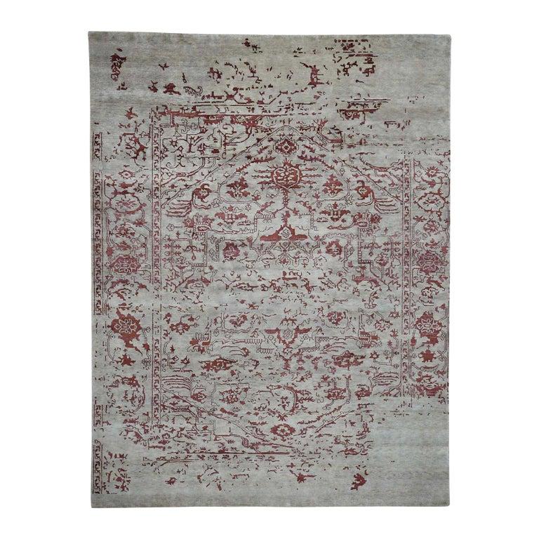 Broken Design Heriz Wool and Silk Oriental Rug Hand Knotted For Sale