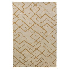 Hand-Knotted Bronze Rug in Painter's Brushstrokes-Inspired Broken Maze Design