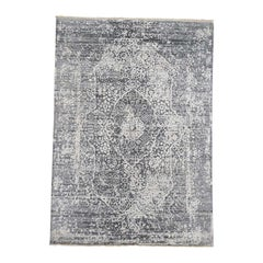 Broken Persian Design Wool and Silk Hand Knotted Oriental Rug