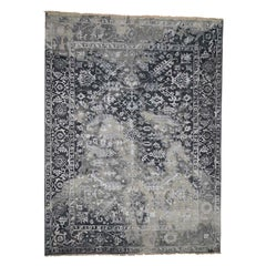 Broken Persian Heriz All-Over Design Wool And Silk Hand Knotted Rug