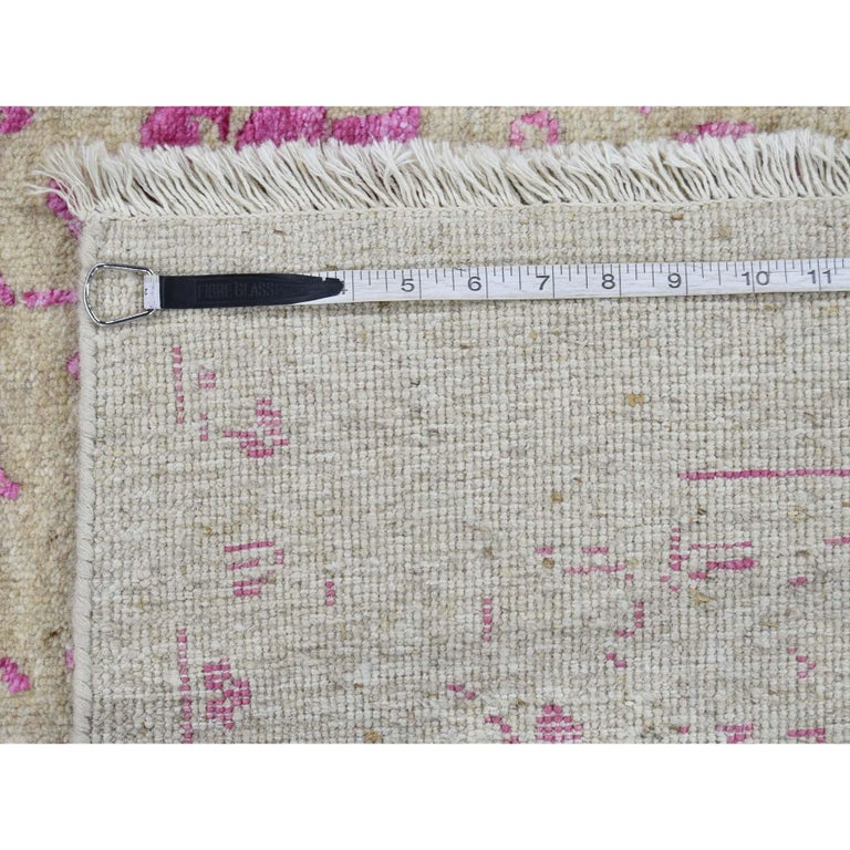Broken Persian Heriz Design Wool and Silk Hand Knotted Oriental Rug 5