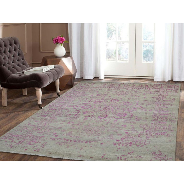 This is a truly genuine one-of-a-kind broken Persian Heriz design wool and silk hand knotted Oriental rug. It has been knotted for months and months in the centuries-old Persian weaving craftsmanship techniques by expert artisans. Measures: 7'10