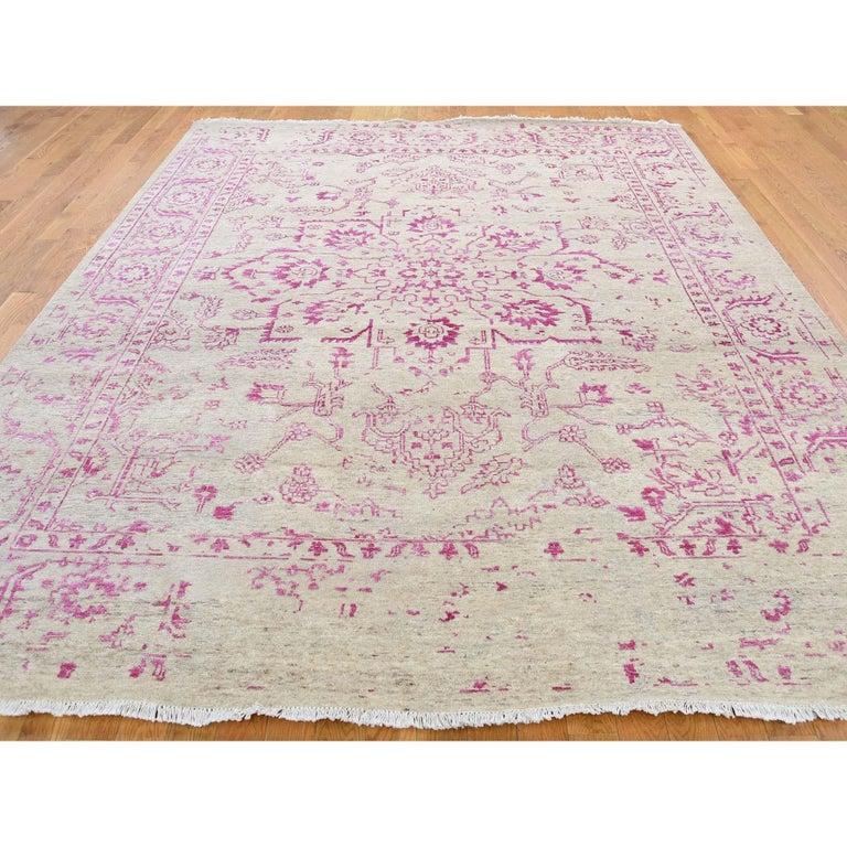 Heriz Serapi Broken Persian Heriz Design Wool and Silk Hand Knotted Oriental Rug