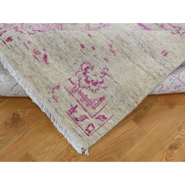 Contemporary Broken Persian Heriz Design Wool and Silk Hand Knotted Oriental Rug