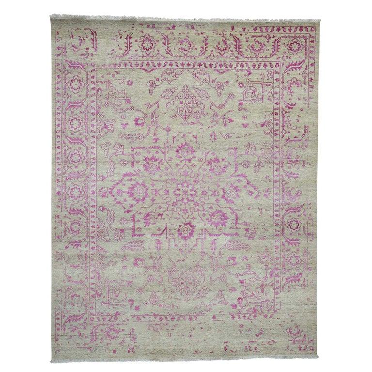 Broken Persian Heriz Design Wool and Silk Hand Knotted Oriental Rug