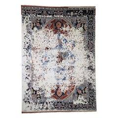 Broken Persian Heriz Pure Wool Hand Knotted Oriental Rug