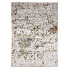 Broken Persian Tabriz Design Wool and Art Silk Oriental Rug
