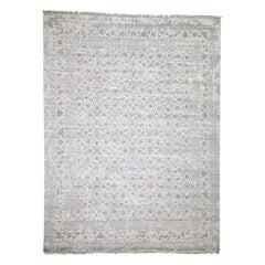 Broken Tabriz Mahi Design Wool and Silk Blend Hand Knotted Rug
