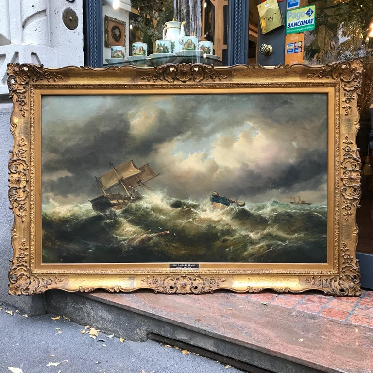 19th Century English Marine Painting Boats Stormy Sea by Bromley John Mallord For Sale 6